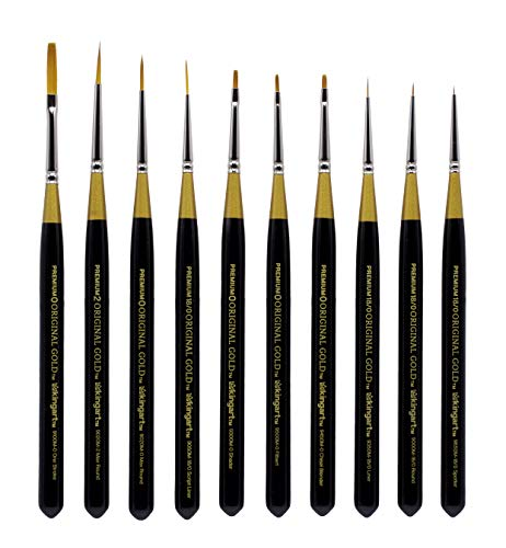 KINGART 1000E Original Gold-Golden TAKLON Mini Set of 10 Paint Brush Set Black -