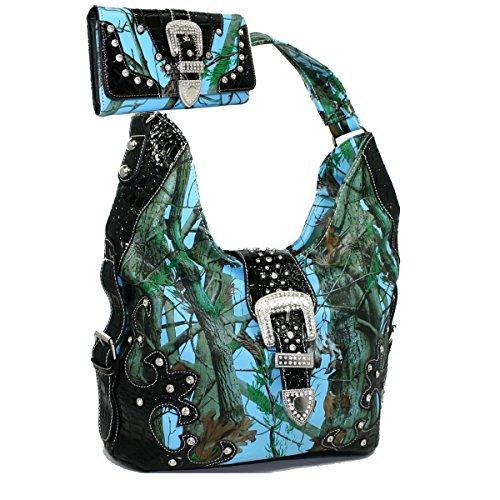(Gold Rush BT929WB80SET-Blue - CAM 2 Tones Camo Rhinestone Buckle Hobo Purse Handbag Wallet - Blue & Multi Color)
