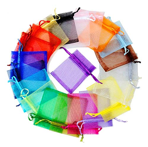 (100pcs Organza Yarn Drawstring Decorations Pouch Jewelry Candy Gift Wrapping Packaging Semitransparent Gauze Bag(4x5 Inches,Assorted 10 Colors))