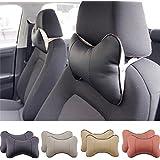 2 Piece Car Seat Leather Headrest Neck Pillow Dog Bone Shape Rest Cushion (BLACK)