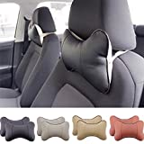 1996 honda prelude seat leather - TRUE LINE Automotive 2 Piece Car Seat Leather Headrest Neck Pillow Dog Bone Shape Rest Cushion (BLACK)