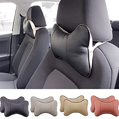 2 Piece Car Seat Leather Headrest Neck Pillow Dog Bone Shape Rest Cushion BEIGE