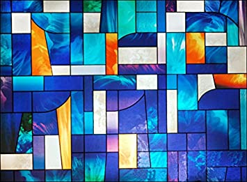 Amazoncom Abstract Stained Glass Window Film Wide X - Stained glass window stickers amazon