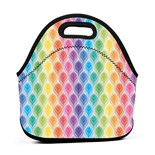 for Womens Mens Boys Girls Trippy Decor,Rainbow Colors Abstract Gradient Toned Leaf Pattern Digital Soft Pastel Design,Multi,lock for lunch bag