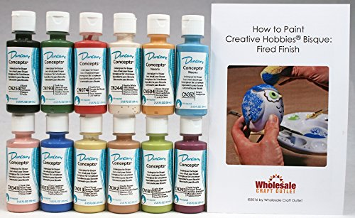 (Duncan CNKIT-1 Concepts Underglaze Paint Set, 12 Best Selling Colors in 2 Ounce Bottles with Free How To Paint Ceramics Book)