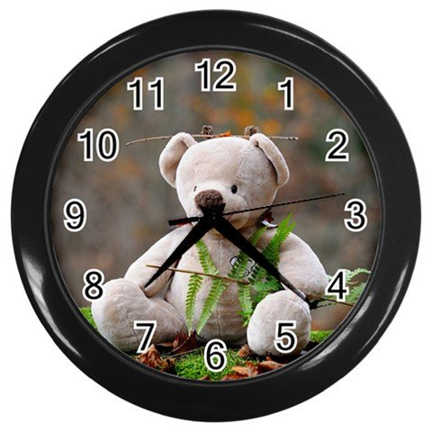 teddy bear Wall Clock (Black)
