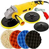 Custom Shop Heavy Duty Variable Speed Polisher with a Professional 4 Pad (Waffle Foam & Wool) Buffing and Polishing Kit with 3 Waffle Foam & 1 Wool Grip Pads with 5/8'' Threaded Grip Backing Plate