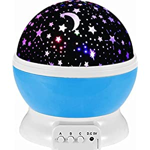 Maphissus Sun Star Night Lighting Lamp Moon Star Projector 4 LED 360 Degree Rotation Bulbs 9 Light Color Changing USB Cable Gifts for Men and Women Best Baby Gift for Christmas Party Decoration