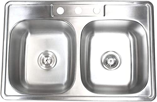 33 inch Topmount Drop-In Stainless Steel 18 Gauge Double Bowl 50 50 Kitchen Sink- with 3 Faucet Holes
