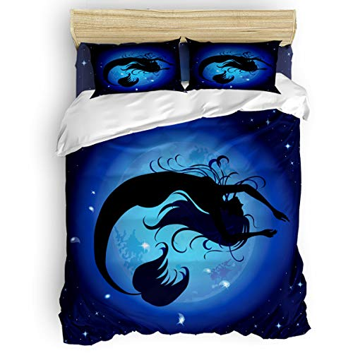 Libaoge Duvet Cover Set Twin Size - 4 Pc Bedding Collection Mermaid Bedding Set Sea Maid Silhouette Magical Fantasy Ocean Modern Home Design with Flat Sheet/Pillowcases for Women Men Kids Girls Boys