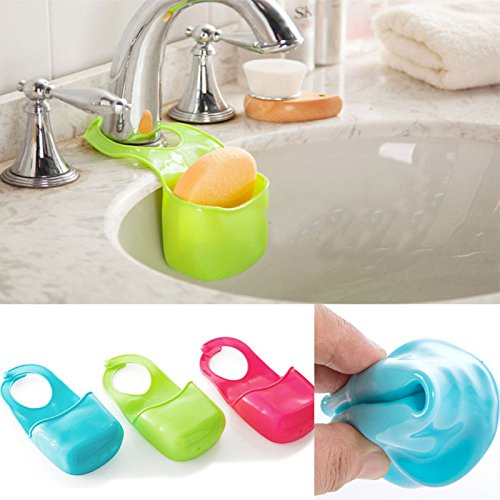 1 PCS random Hot Creative Kitchen Sink Bathroom Hanging Strainer Organizer Storage Sponge Holder Bag Tool