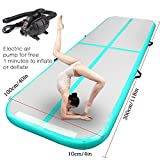 FBSPORT Airtrack Tumbling Mat Inflatable Gymnastics Air Track Flooring Mat with Electric Air Pump for Gym/Yoga/Training/Kids/Sport 4M-12M Length (lightgreen, 300)