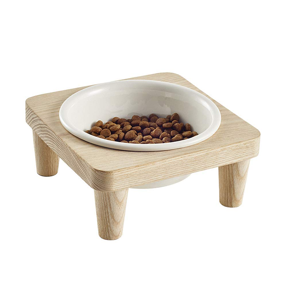 Elevated Pet Bowl Ceramic Cat Bowls Raised Puppy Water Bowl with Solid Wood Stand, Ideal for Cats and Small and Medium-Sized Dogs