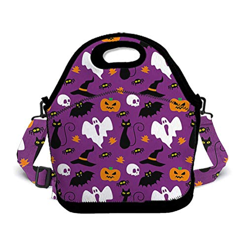 SWEET TANG Halloween Party Pattern Insulated Neoprene Lunch Bag Tote Handbag Lunchbox Food Container Gourmet Tote Cooler Warm Pouch for School Work Office -