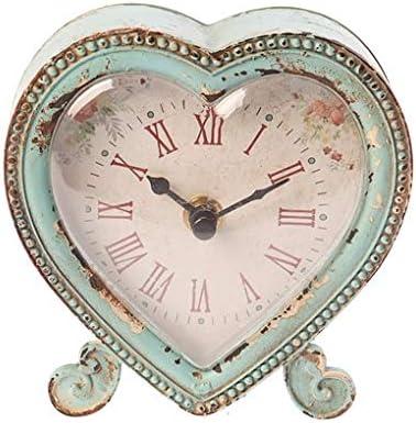 Sass & Belle - Reloj de Peltre con Forma de corazón para el Dormitorio, Duck Egg/Pink, 12 x 12 x 2.5 cm
