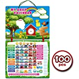 "Kids Daily Calendar with ""100 Learning Magnets"" Hang on Wall or Fridge. Fun Educational Activity for Home or School. Weather, Time, Season, Activities, Emotions"