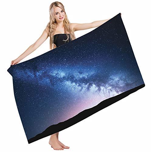Mugod Beach Towel Bath Towels Scenery Night of Dark Nebula Cosmos Stardust on Hill Valley Yoga/Golf/Swim/Hair/Hand Towel for Men Women Girl Kids Baby 64x32 Inch