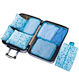 Belsmi 7 Set Packing Cubes With Shoe Bag - Compression Travel Luggage Organizer (Blue Flower)