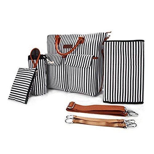 Canvas French Handbag (Primebabe 5-in-1 Baby Diaper Bag French Stripe Cotton Canvas with Changing Pad, Milk Bottle Bag, Handbag, 2 Stroller Straps)
