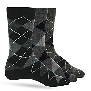 3 Pack of Premium Cotton Argyle Mens Black Dress Socks For Men – Colorful Fashion - Gray Grey