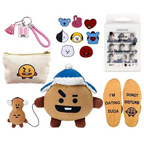 Youyouchard BTS Bangtan Boys Cute Cartoon Christmas Merchandise Set BTS Photocard Set BTS Keychain BTS Bag BTS Socks BTS Pins BTS Doll, Love Yourself(H07) ()