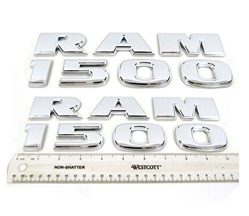 Yoaoo® 2x GENUNE Chrome Dodge RAM 1500 Emblem Badge 3D Emblem Decals Nameplates Flat Letter Glossy OEM (Dodge Chrome Emblem compare prices)