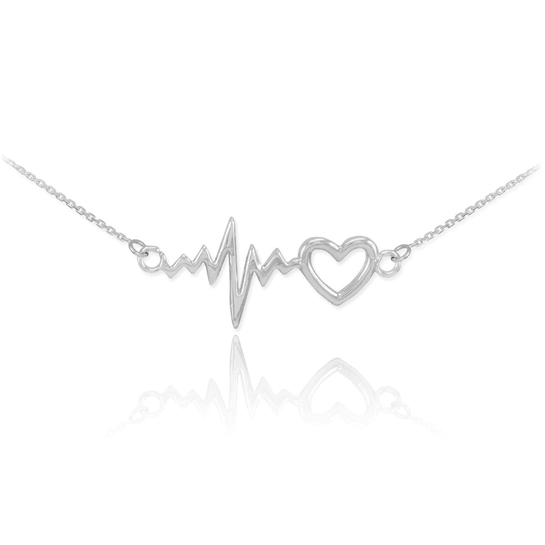 14k White Gold Lifeline Pulse Heartbeat Charm Open Heart Pendant Necklace