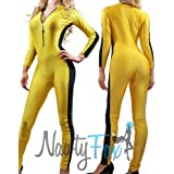 NawtyFox Adult Yellow Front Zip Shiny Spandex Unitard Jumpsuit Bodysuit Dancewear Kung Fu Martial Art Costume