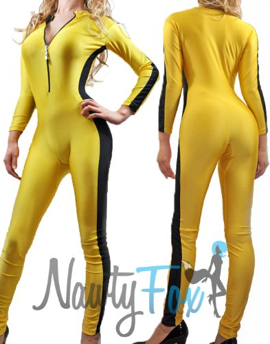 [NawtyFox Adult Yellow Front Zip Shiny Spandex Unitard Jumpsuit Bodysuit Dancewear Kung Fu Martial Art Costume] (Beatrix Kiddo Costume)