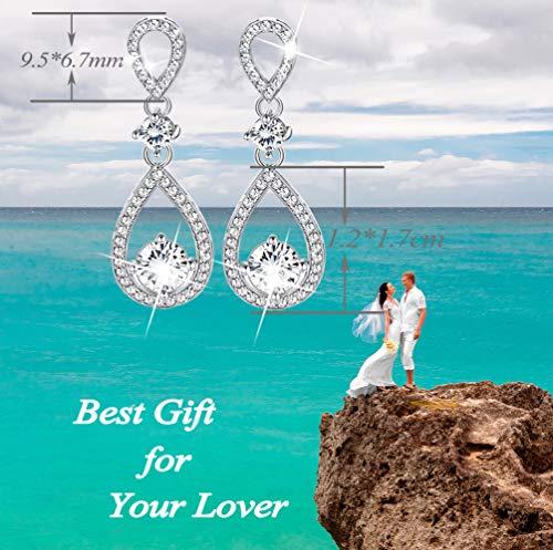 Udalyn Teardrop Dangle Wedding Earrings for Women Silver CZ Drop Earrings Prom Bridesmaid Jewelry Earrings by Udalyn (Image #2)