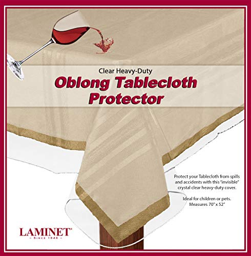 LAMINET Heavy-Duty Deluxe Crystal Clear Vinyl Tablecloth Protector 52 x 70 - Oblong