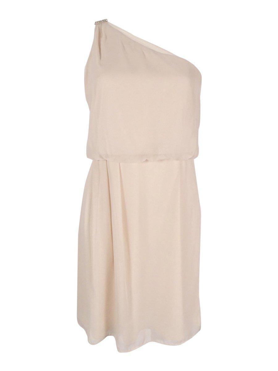 Adrianna Papell Women's One Shoulder Blouson Dress Beige 8