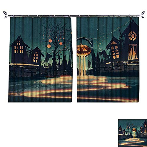 DESPKON The Shade Block Ultraviolet Halloween Theme Night Pumpkin and Haunted House Ghost Town Artful for Bedroom, Living Room, for Shade. W96 x L108 ()