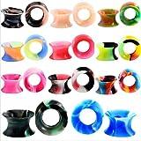 RhineYoka Ear Tunnels and Plugs - Ear Gauges Earrings,Silicone Flesh Tunnel Ear Expander 2g-5/8 Mixed Color Set 22Pcs