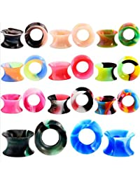 RhineYoka Ear Tunnels and Plugs - Ear Gauges Earrings,Silicone Flesh Tunnel Ear Expander 2g-5/8 Mixed Color Set 22Pcs