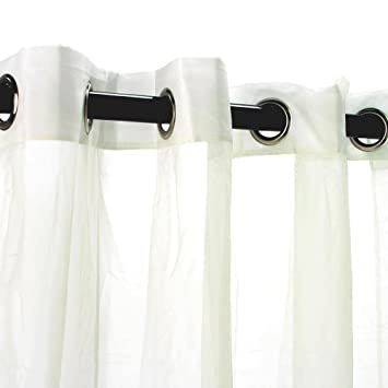 Escape Ivory 96u0026quot; Long Sheer Grommet Top Indoor / Outdoor Curtain Panel  Commonwealth Home Fashions