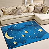 Naanle Star Area Rug 5'x7′, Moon and Skyline Polyester Area Rug Mat for Living Dining Dorm Room Bedroom Home Decorative For Sale