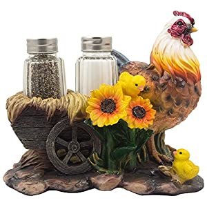 Mother Hen and Chicks Glass Salt and Pepper Shaker Set with Decorative Sunflowers & Old Fashioned Hay Wagon Accents for…
