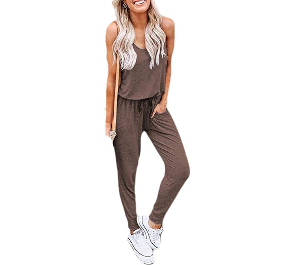 Zimaes-Women Solid Sleeveless Bandage with Pocket Rompers Jumpsuits