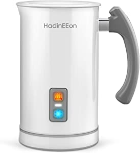 HadinEEon Milk Frother, 17.0oz/8.5oz Electric Milk Frother Steamer Stainless Steel Automatic Hot / Cold Milk Frother and Warmer for Coffee, Latte, Cappuccinos or Hot Chocolates, 650W 120V, White