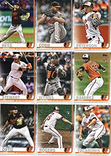 2019 Topps Series 2 Baseball Baltimore Orioles Team Set of 12 Cards: Jace Peterson(#404), Oriole Park at Camden Yards(#441), Alex Cobb(#483), Chance Sisco(#529), Chris Davis(#542), David Hess(#552), Josh Rogers(#567), Jimmy Yacabonis(#575), DJ Stewart(#580), Austin Wynns(#582), Yefry Ramirez(#583), Luis Ortiz(#678)