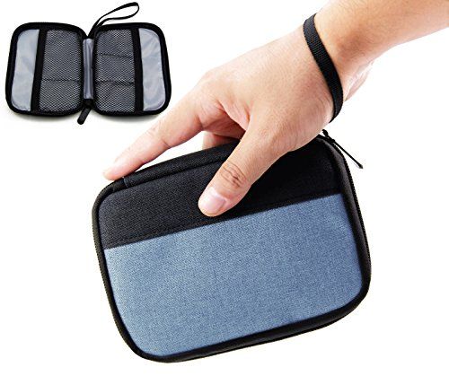 Admirable Idea Small Electronic Organizer Pouch Universal Zipper Travel Cosmetic Makeup Handbag Coins/USB/Hard Drive/Cables Carry Case with Hand Strap (blue&black)