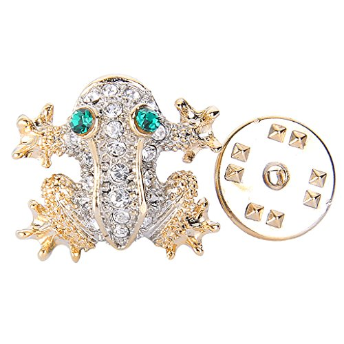 EVER FAITH Austrian Crystal Cute Green Eyes Climbing Frog Animal Lapel Pin Clear (Austrian Crystal Frog Pin)