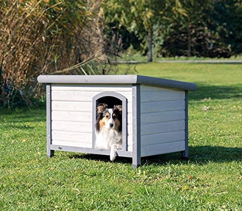 Flat Hinged Roof Trixie Natura Classic Dog House Adjustable Legs Gray Large