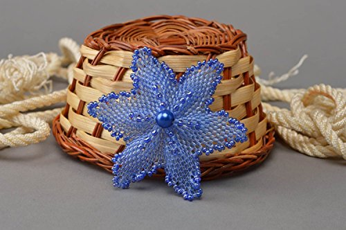 Handmade Beautiful Delicate Designer Beaded Brooch Made in Form of Blue ()