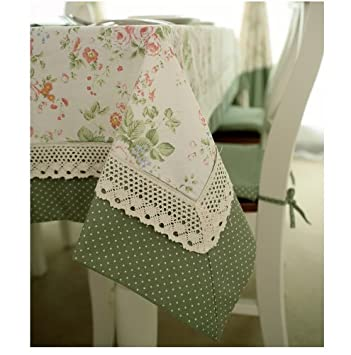 Diaidi French Country Tablecloth Dot Floral Table Cloth Splicing Green Lace  Table Cover