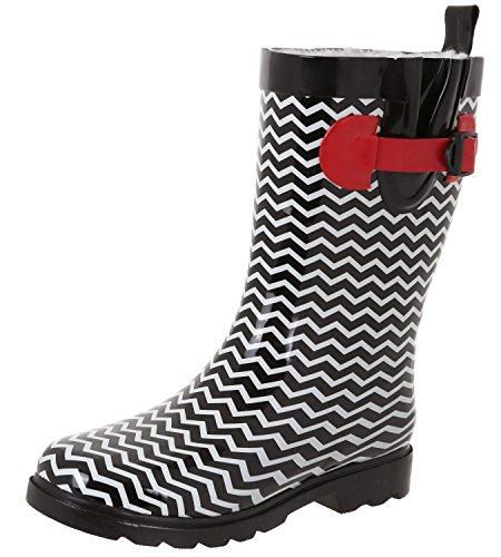 Capelli New York Ladies Lucido Ombrello Mid-calf Rain Boot Nero Rosso