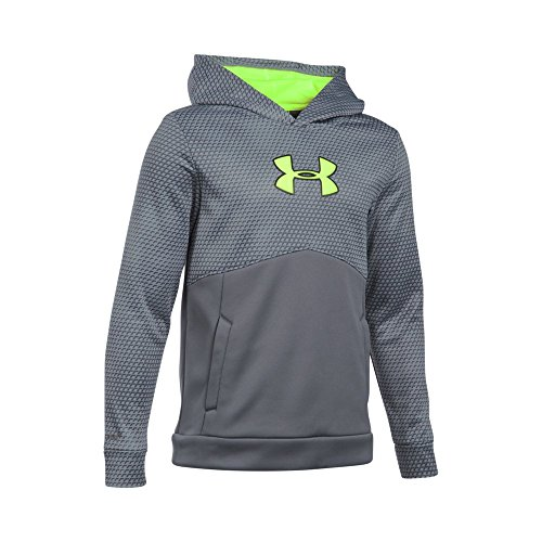 Under Armour Boys' Storm Armour Fleece Mid Logo Hoodie, Graphite/Fuel Green, Youth X-Large