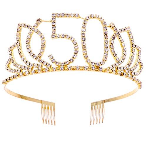 Frcolor Birthday Tiara, Rhinestone 50th Birthday Crowns Happy 50th Birthday (Gold)]()