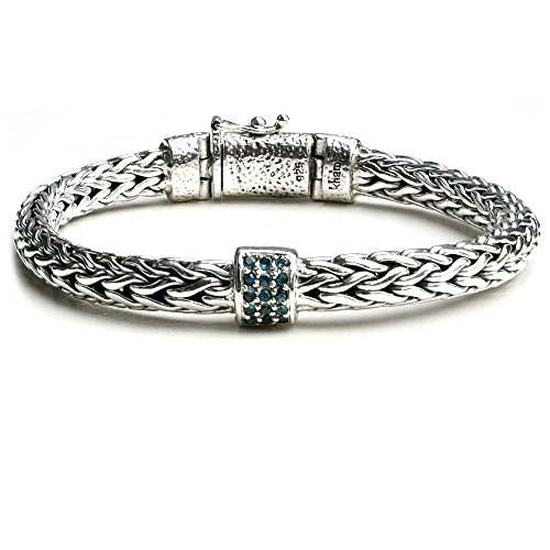 Handcraft Braided Bali Style 925 Sterling Silver with Blue Topaz Station Link Chain Bracelet for Women (7.5) by Kham